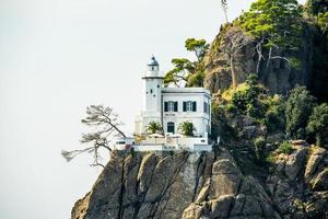 Lighthouse on the Ligurian coast, Genoa, Italy photo