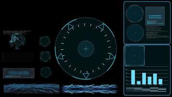 Surveiller le radar enquêter sur la technologie numérique avec la barre graphique de données d'analyse de la carte de la terre et la surface graphique video