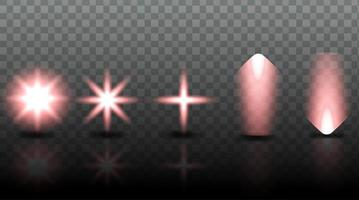 Establecer efecto de iluminación de colección en d ilustración fondo transparente vector