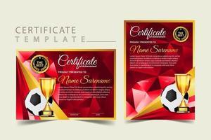 diploma de certificado de juego de fútbol con vector de conjunto de copa de oro