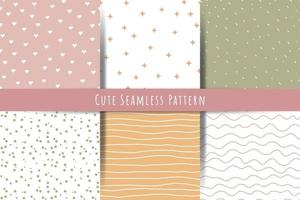A set of simple minimalistic summer spring seamless patterns Gentle ornaments with lines drops hearts shapes vector