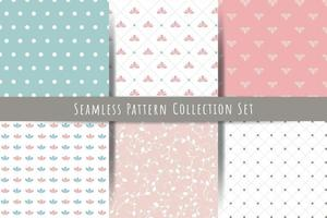 A set of simple minimalistic vintage seamless patterns gentle light ornaments with branch drops shapes vector