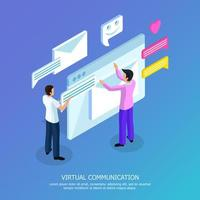 Virtual Communication Isometric Background Vector Illustration