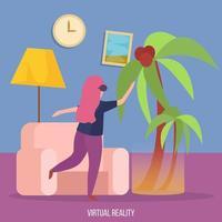 Virtual Reality Orthogonal Background Vector Illustration