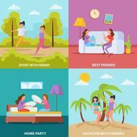 Girls Friendship Orthogonal Concept Vector Illustration