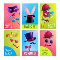 Photobooth Cards Set Vector Illustration