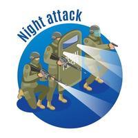 Ilustración de vector de ilustración isométrica de ataque nocturno
