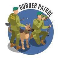 Ilustración de vector de composición isométrica de patrulla fronteriza