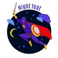 Ilustración de vector de ilustración de actividad nocturna de superhéroe