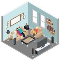 Family Home Isometric Interior Vector Illustration