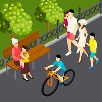 Family Outdoor Isometric Composition Vector Illustration