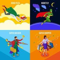 Super Heroes Isometric Design Concept Vector Illustration
