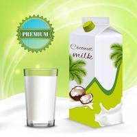 Vegan Milk Realistic Composition Vector Illustration