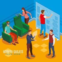 Gadgets Show Room Isometric Composition Vector Illustration