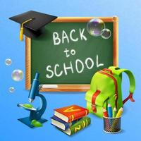 Back To School Realistic Background Vector Illustration