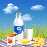 Milk Dairy Realistic Advertisement Vector Illustration