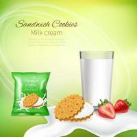 Milk Dairy Realistic Composition Vector Illustration