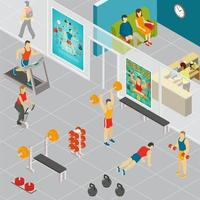 Isometric Gym Room Composition Vector Illustration