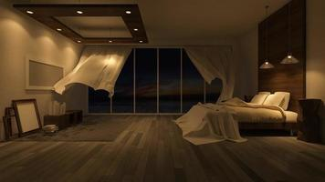 3ds rendering footage of blowing blind in seaside room in sunset time video