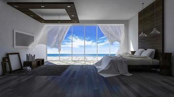 Imágenes de renderizado 3ds de soplar ciego en una habitación junto al mar durante el día video