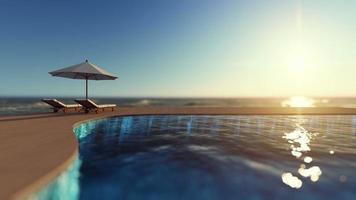 3D-rendering beelden van witte paraplu en 2 houten ligbed op het houten terras van het overloopzwembad met zee als achtergrond video