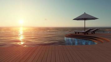 3d rendering footage of white umbrella and 2 wooden daybed on the infinity swimming pool timber terrace which have sea as background video