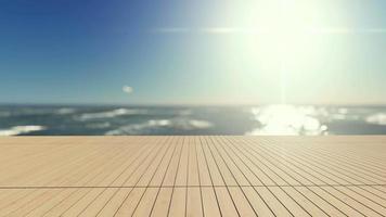 3D-rendering beelden van witte paraplu en 2 houten ligbed op het houten terras van het overloopzwembad met zonsonderganghemel als achtergrond video