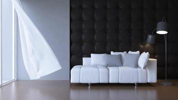 Imágenes de renderizado 3D de soplado ciego de tela blanca en la sala de estar video