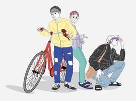 adolescentes con estilo y bicicletas vector