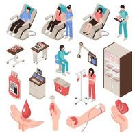 Ilustración de vector de conjunto isométrico de donante de sangre