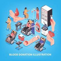 Blood Donation Isometric Illustration Vector Illustration