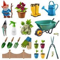 Garden Accessories Set Vector Illustration
