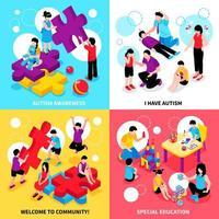 Ilustración de vector de concepto de diseño isométrico de autismo