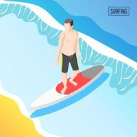 Water Sports Isometric Background Vector Illustration