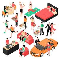 Couple Daily Routine Isometric Set Vector Illustration