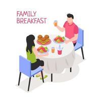 Daily Family Breakfast Isometric Illustration Vector Illustration