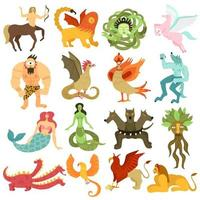 Mythical Creatures Set Vector Illustration