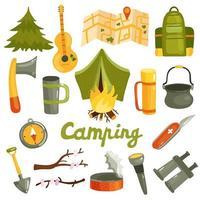 Camping Tourism Equipment Set Vector Illustration