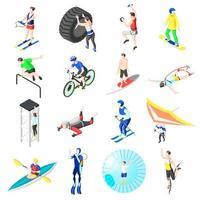 Extreme Sports Isometric Icons Vector Illustration