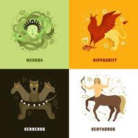 Mythical Creature 2x2 Concept Vector Illustration