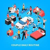Daily Life Couple Isometric Illustration Vector Illustration