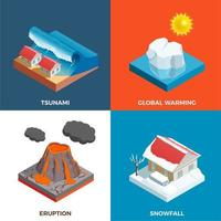 Natural Disasters Isometric Design Concept Vector Illustration