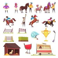 Horse Racing Icons Collection Vector Illustration