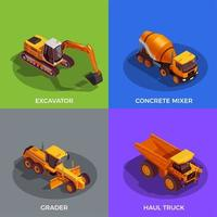 Building Vehicles Isometric Design Concept Vector Illustration