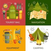 Camping 2x2 Design Concept Vector Illustration
