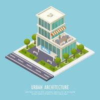 Urban Architecture Isometric Background Vector Illustration