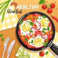 Ilustración de vector de ilustración de sartén de huevo
