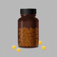 Brown Glass Bottle With Vitamin Dragee Vector Illustration