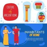 Roma banners horizontales establecer ilustración vectorial vector