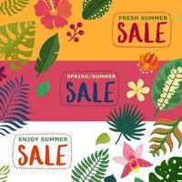 Tropical Plants Banners Set Vector Illustration